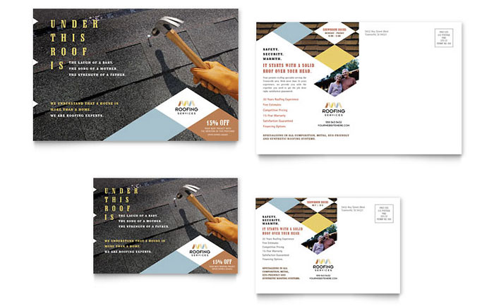 Roofing Contractor Postcard Template Word Publisher