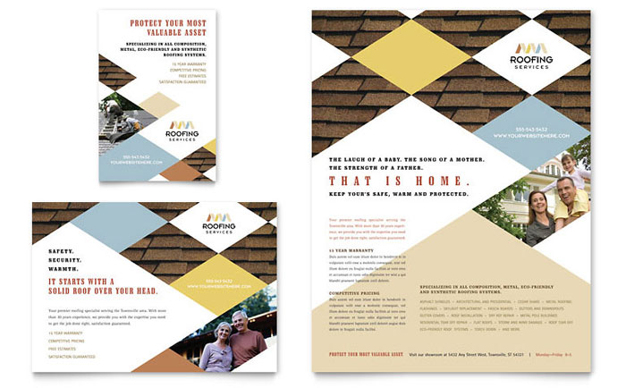 Roofing contractor flyer ad template word publisher for Construction brochure design pdf
