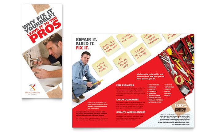Handyman Services Tri Fold Brochure Template - Word & Publisher