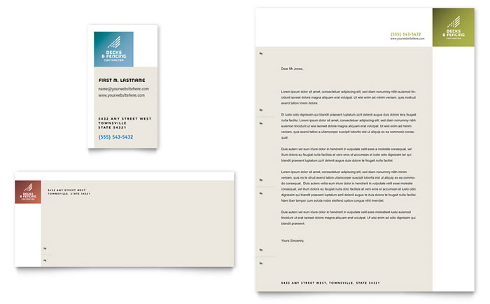 Decks & Fencing Business Card & Letterhead Template - Word & Publisher