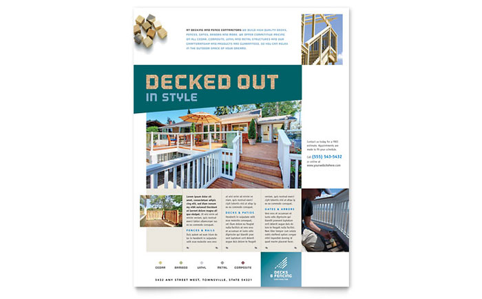 Decks & Fencing Flyer Template Download - Word & Publisher - Microsoft Office