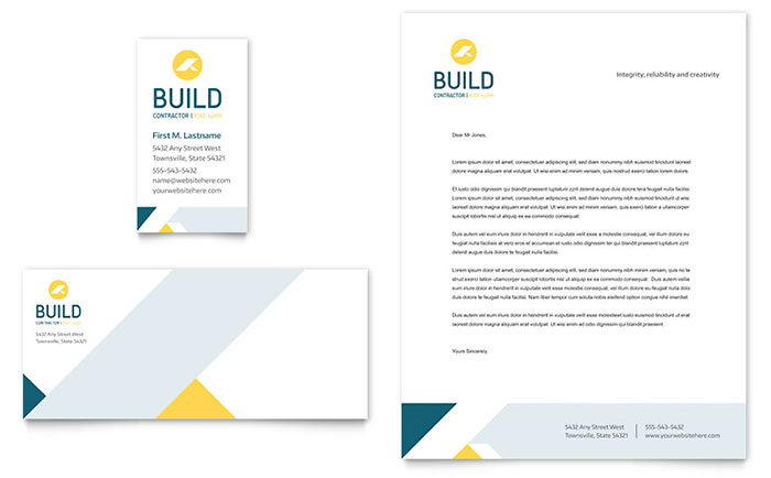 Contractor Business Card & Letterhead Template - Word & Publisher