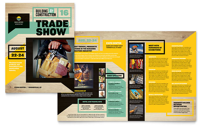 Builders Trade Show Brochure Template Word Publisher - Microsoft publisher brochure templates