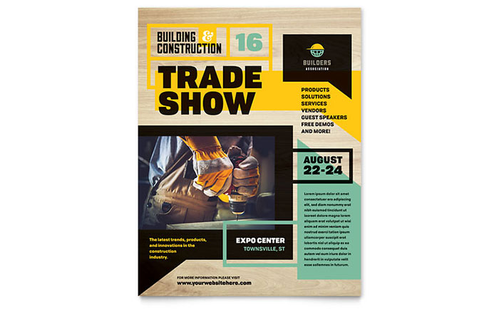 Builder's Trade Show Flyer Template - Word & Publisher