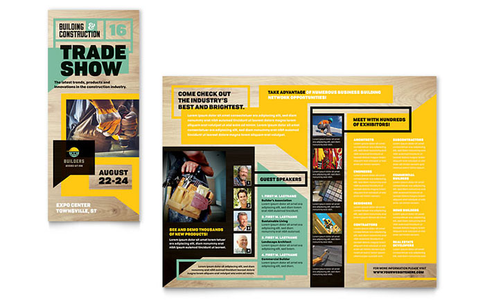 Builder's Trade Show Tri Fold Brochure Template - Word & Publisher