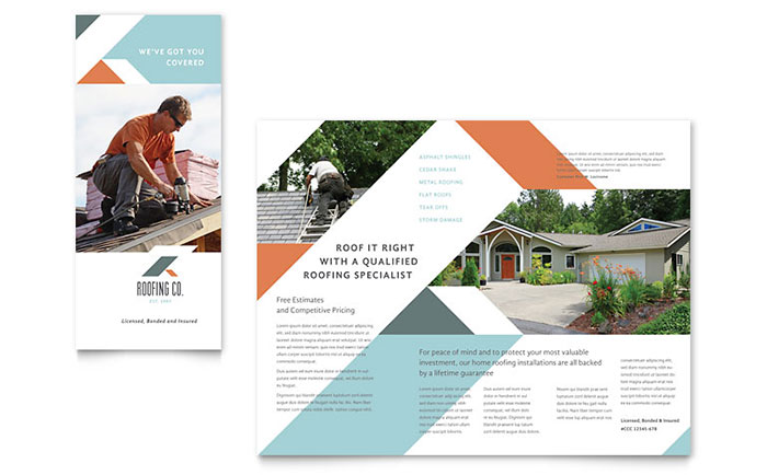 Roofing company brochure template word publisher for Brochure publisher template