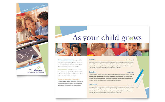 Child Care  Preschool Brochure Template  Word  Publisher