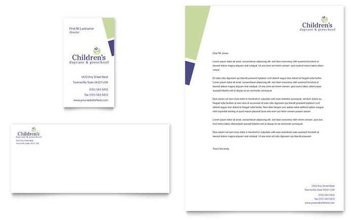 child care u0026 preschool business card u0026 letterhead template word u0026 publisher