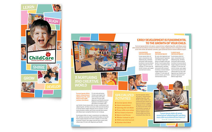 Preschool kids day care brochure template word publisher for Childcare newsletter templates