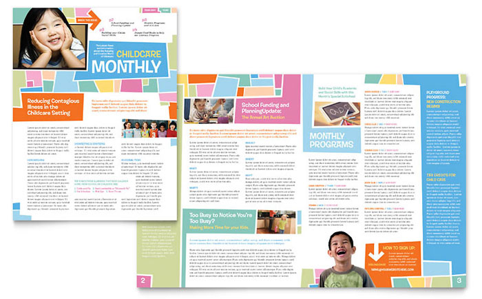 Preschool kids day care newsletter template word for Childcare newsletter templates