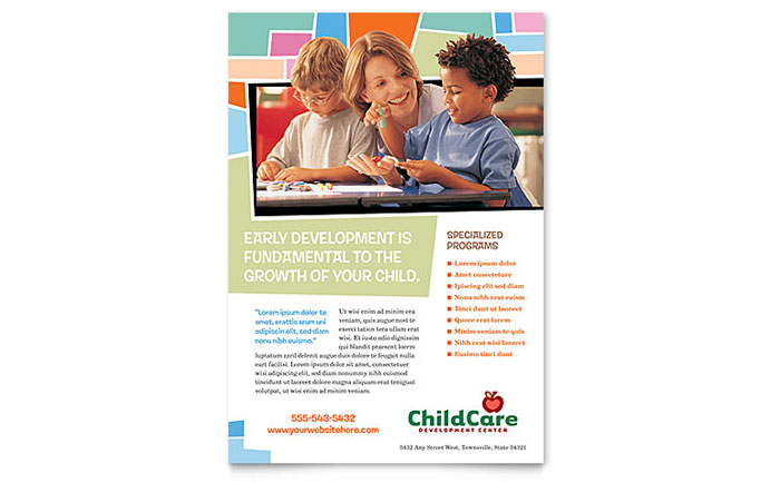 Preschool Kids & Day Care Flyer Template - Word & Publisher