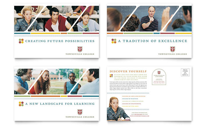 college amp university postcard template   word amp publisher