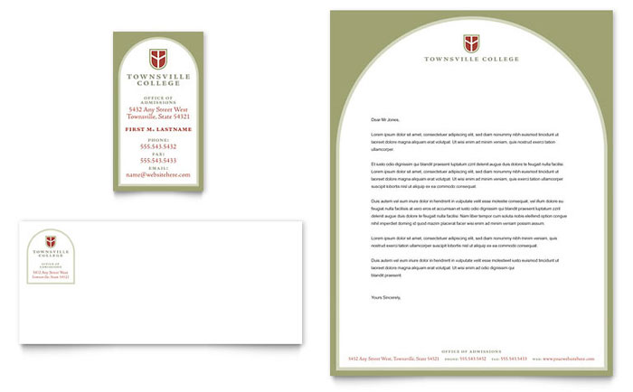 College Amp University Business Card Amp Letterhead Template
