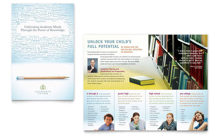 Academic Tutor School Brochure Template Word Publisher - High school brochure template