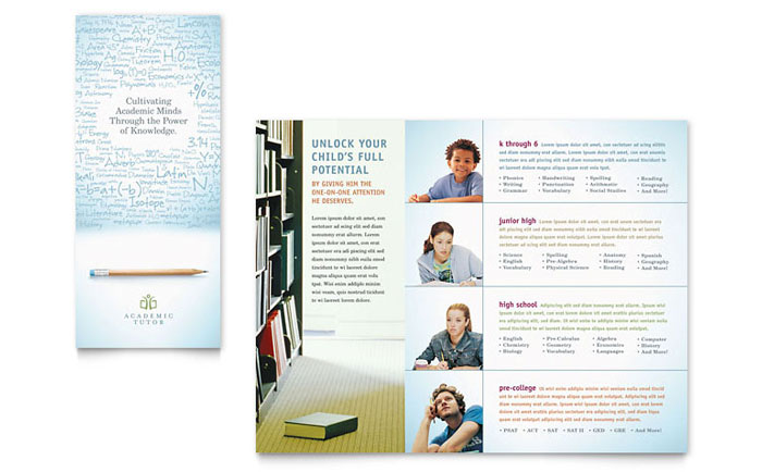 Academic Tutor School Tri Fold Brochure Template Word Publisher - High school brochure template