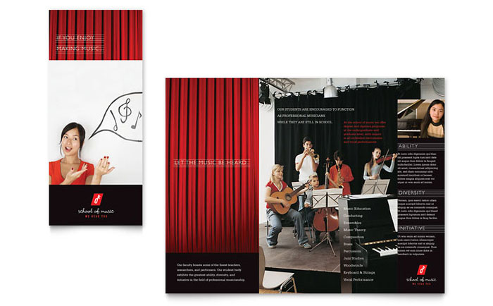 music brochure templates - music school brochure template word publisher