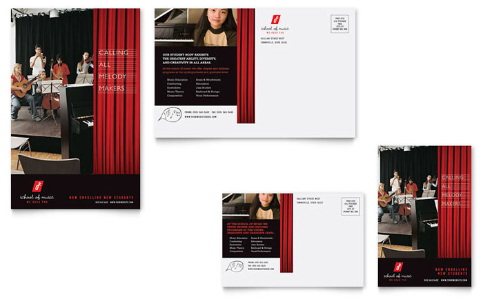 Music school postcard template word publisher for Music brochure templates