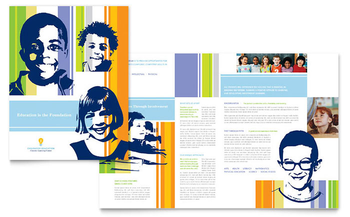 Learning Center Elementary School Brochure Template Word - School brochures templates