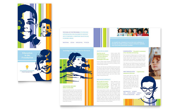 learning center  u0026 elementary school brochure template