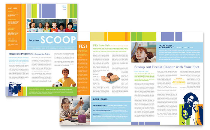 Learning Center U0026 Elementary School Newsletter Template   Word U0026 Publisher  Free School Newsletter Templates For Word