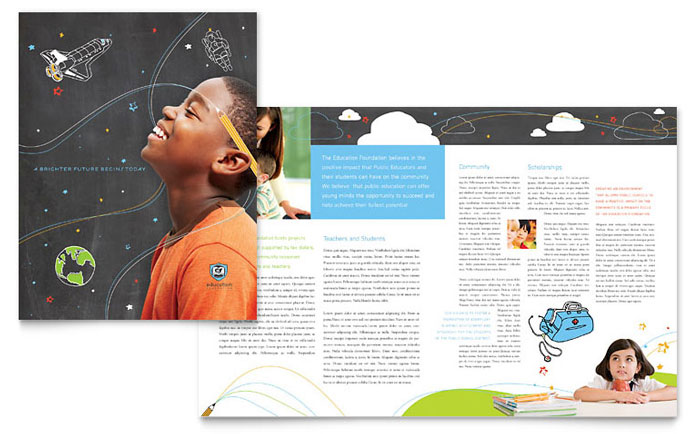 Education Foundation School Brochure Template Word Publisher