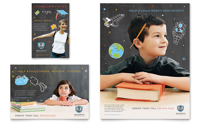Education Foundation  School Flyer  Ad Template  Word  Publisher