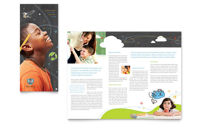 Education Foundation U0026 School Tri Fold Brochure Template   Word U0026 Publisher  Microsoft Trifold Template