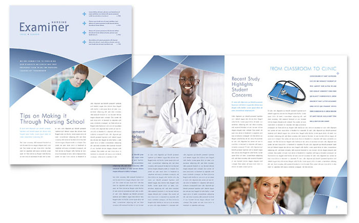 Nursing School Hospital Newsletter Template  Word  Publisher