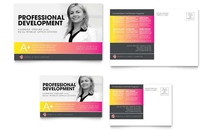 Adult Education & Business School Postcard Template - Word
