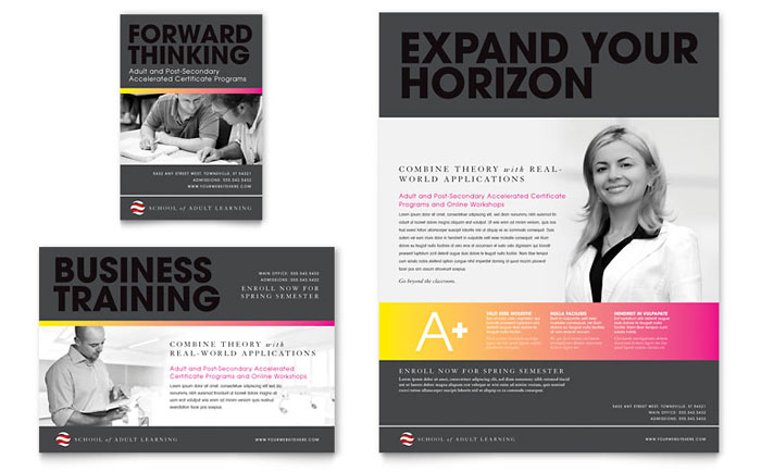 Adult Education & Business School Flyer & Ad Template - Word & Publisher