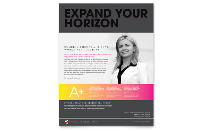 Adult Education Business School Flyer Template Word Publisher