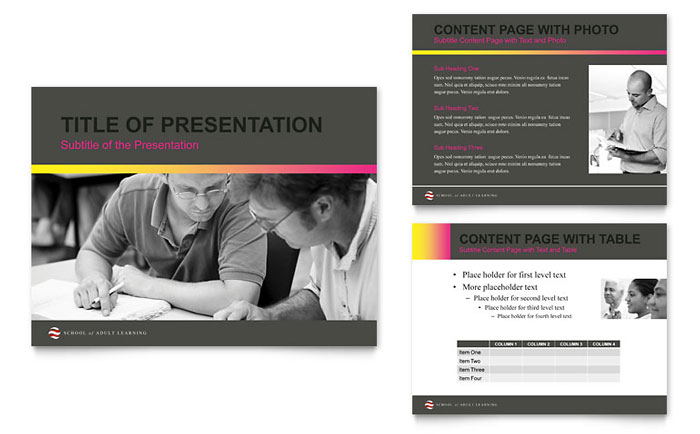 Adult Education & Business School PowerPoint Presentation Template - PowerPoint