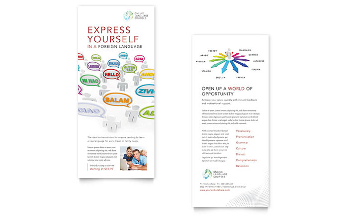 Language Learning Rack Card Template - Word & Publisher