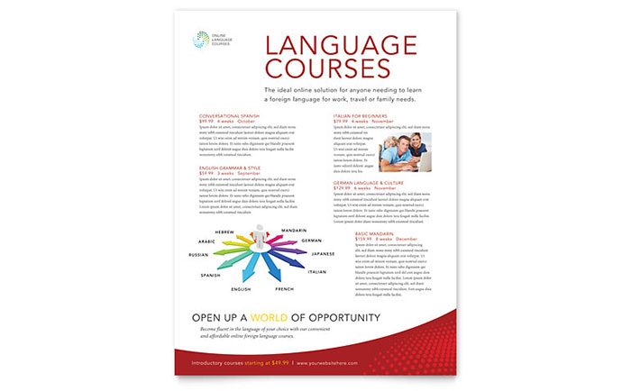 Language Learning Class Flyer Template - Word & Publisher