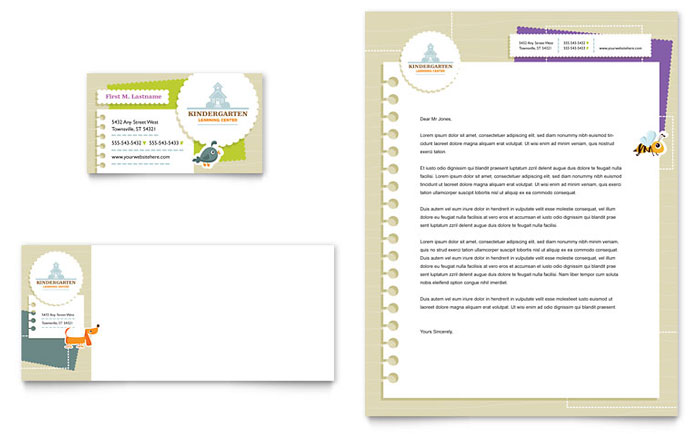 Kindergarten Business Card & Letterhead Template - Word & Publisher