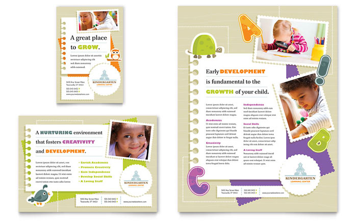 Kindergarten flyer ad template word publisher for Preschool brochure template
