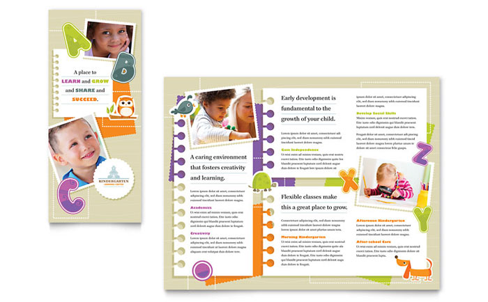 Kindergarten tri fold brochure template word publisher for Child care brochure template free