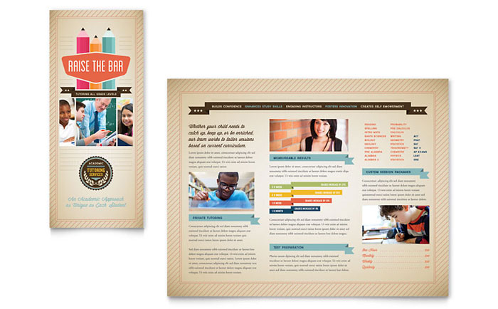 Tutoring School Brochure Template Word Publisher - School brochure templates