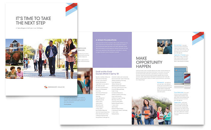 Community College Brochure Template Word Publisher