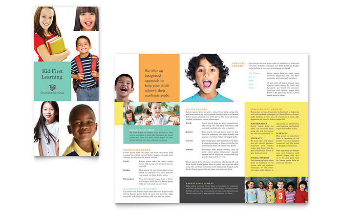 Charter School Tri Fold Brochure Template - Word & Publisher