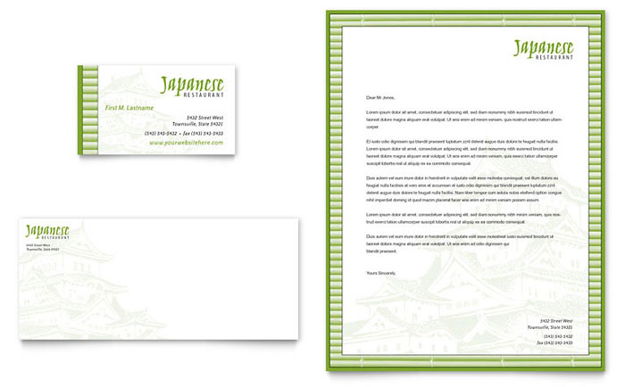 Japanese Restaurant Business Card & Letterhead Template Download - Word & Publisher - Microsoft Office