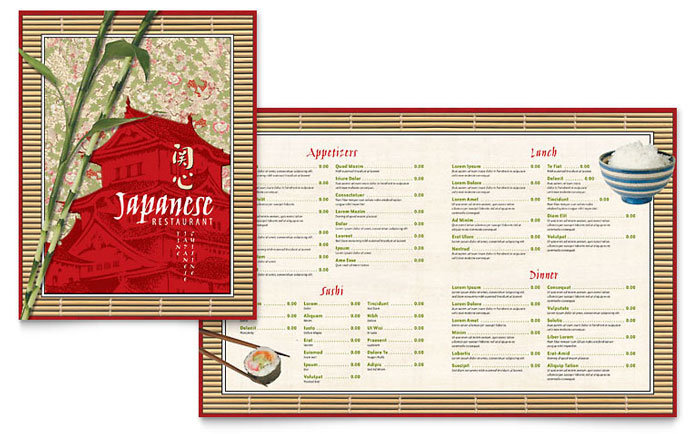Japanese restaurant menu template word publisher for Templates for restaurant menus
