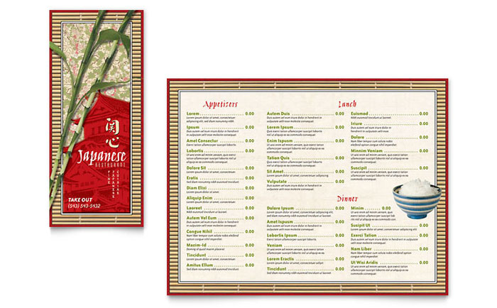 Japanese restaurant take out brochure template word for Microsoft publisher menu templates free
