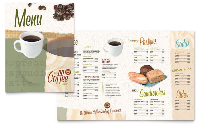 Coffee shop menu template word publisher for Microsoft publisher menu templates free