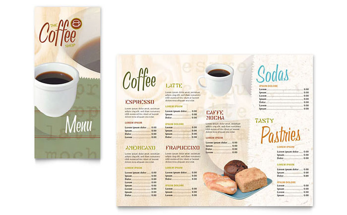 Coffee Shop Takeout Brochure Template Word Publisher - Take out menu template free