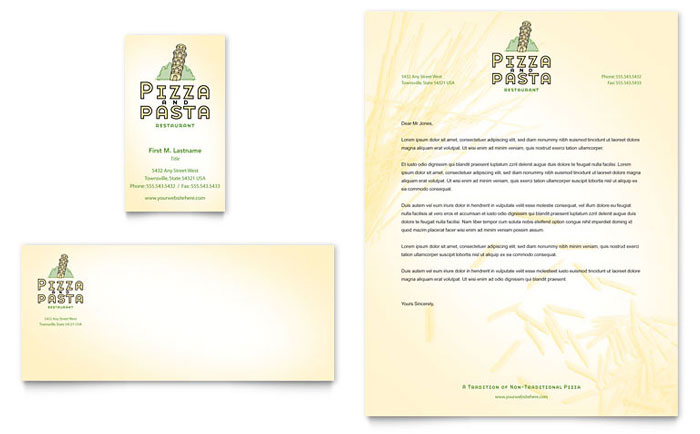 Italian Pasta Restaurant Business Card & Letterhead Template - Word & Publisher
