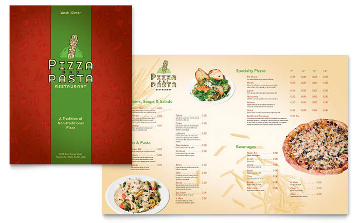 Italian Pasta Restaurant Menu Template Word Publisher - Menu brochure template free