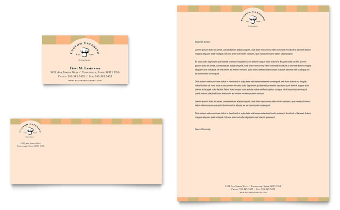Catering Company Business Card  Letterhead Template  Word