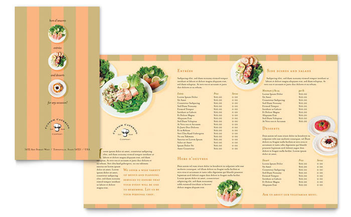 microsoft publisher menu templates free - catering company take out brochure template word publisher