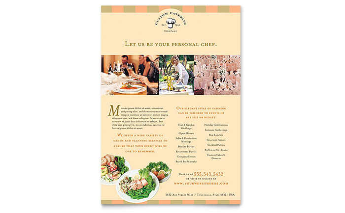 catering company flyer template word publisher